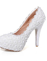 Women's Wedding Shoes Heels / Platform / Round Toe Heels Wedding / Party & Evening / Dress White(Genuine leather)