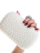 Women Metal Flap Clutch / Evening Bag - White / Beige