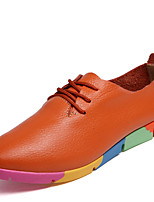 Women's Shoes Leather Flat Heel Pointed Toe Oxfords Office & Career / Casual Black / Blue / White / Orange