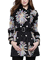 Women's Floral Black Coat,Simple Long Sleeve Polyester