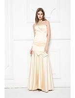 Formal Evening Dress-Champagne Trumpet/Mermaid Strapless Floor-length Satin