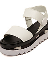 Women's Shoes Microfibre Flat Heel Wedges / Open Toe Sandals Outdoor / Casual Black / White
