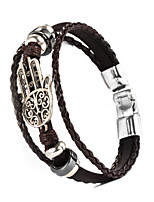 Hamsa Hand Shape PU Men's Bracelet