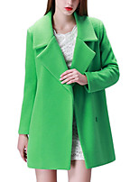 Women's Solid Red / Green / Orange Trench Coat,Simple Long Sleeve Polyester