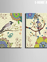 E-HOME® The Birds And Flowers On The Branches Clock in Canvas 2pcs