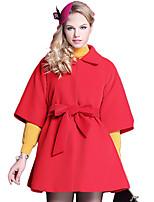 Women's Solid Red / Beige Coat,Simple ½ Length Sleeve Wool