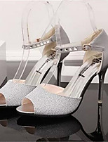 Women's Shoes Synthetic Stiletto Heel Heels / Creepers Sandals Party & Evening / Dress Black / Silver