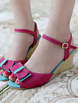 Women's Shoes Fleece Wedge Heel Wedges Sandals Office & Career / Dress / Casual Blue / Yellow / Red