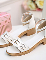 Women's Shoes Leatherette Chunky Heel Comfort Sandals Party & Evening / Dress / Casual Pink / White / Beige