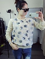 Women's Print Pink / Beige / Black / Yellow Pullover,Simple Long Sleeve