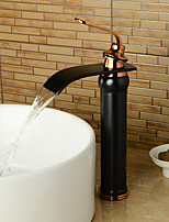 Rose Gold Handle Oil-rubbed Bronze Waterfall Bathroom Sink Faucet - Black + Rose Gold (Tall)