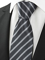 Striped Gray Black JACQUARD Men's Tie Necktie Wedding Party Holiday Gift #0015
