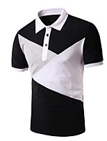 Men's Short Sleeve Polo,Rayon Casual Patchwork