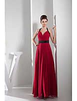 Formal Evening Dress A-line Halter Floor-length Chiffon / Charmeuse