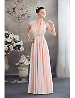 Formal Evening Dress-Pearl Pink Sheath/Column V-neck Floor-length Chiffon / Lace