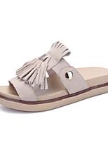 Damenschuhe-Sandalen / Slippers-Kleid / Lässig-Wildleder / Leder-Flacher Absatz-Pantoffeln / Vorne offener Schuh-Rosa / Grau / Orange
