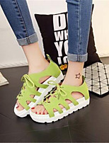 Women's Shoes Synthetic Platform Peep Toe / Creepers Sandals Outdoor / Casual Black / Green / White