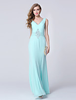 Formal Evening Dress-Clover Sheath/Column V-neck Ankle-length Tulle