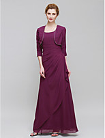 Women's Wrap Shrugs 3/4-Length Sleeve Chiffon Grape Wedding / Party/Evening Wide collar 39cm Beading Open Front