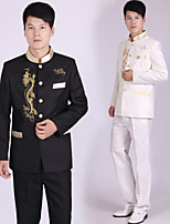 Suits Tailored Fit Mandarin Collar Polyester Stripes 2 Pieces Black / Gold / White
