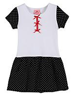Girl's Black / White Dress,Dot Cotton Summer / Spring