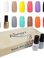 Kismart Soak Off LED UV Nail Gel Polish Gift Kit 6.5ml 60 Colors Choose 6 Color Gel 1 Base &1 Top Coat 8 Pcs In 1 Set