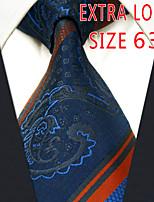 Men's Tie Navy Blue Stripes 100% Silk Business  Dress Casual Long