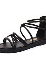 Zapatos de mujer-Tacón Plano-Punta Abierta-Sandalias-Oficina y Trabajo / Casual-Semicuero-Negro / Blanco