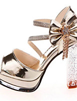 Women's Shoes PU Chunky Heel Heels / Peep Toe Sandals Party & Evening / Dress White / Gold