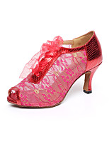Customizable Women's Dance Shoes Latin / Dance Sneakers / Swing Shoes / Salsa Leather Stiletto Heel Red / Gold