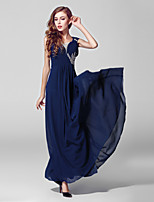 Formal Evening Dress-Ink Blue Ball Gown V-neck Ankle-length Chiffon