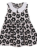 Girl's Black / Pink Dress Cotton Summer / Spring