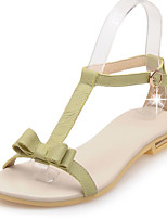 Women's Shoes Leather Flat Heel Sling back/Open Toe Sandals Dress/Casual Green/White/Beige