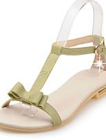 Chaussures Femme-Habillé / Décontracté-Vert / Blanc / Beige-Talon Plat-A Bride Arrière / Bout Ouvert-Sandales-Cuir