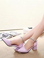 Zapatos de mujer-Tacón Robusto-Tacones-Tacones-Oficina y Trabajo / Vestido-Semicuero-Rosa / Morado / Blanco