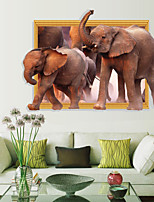 Elephant Animals Wall Stickers 3D Wall Stickers or Surface Mount,PVC 90*60cm