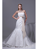Trumpet/Mermaid Wedding Dress-Ivory Chapel Train Strapless Organza / Satin