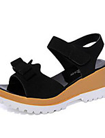 Women's Shoes Synthetic Wedge Heel Peep Toe / Creepers Sandals Outdoor / Casual Black / Green / White