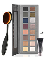 Palette 16 Colors Luminous Eye shadow Palette With Eye Primer +1PCS Masterclass Oval Foundation Makeup Brush