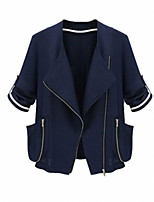 Women's Solid Blue / White Coat,Simple ¾ Sleeve Polyester