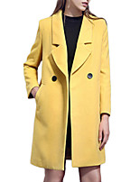 Women's Solid Yellow Pea Coats,Simple Long Sleeve Polyester