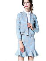Women's Print Blue Set,Round Neck Long Sleeve