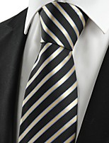 KissTies Men's Striped Golden Black Microfiber Tie Necktie For Wedding Party Holiday With Gift Box