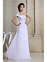 Formal Evening Dress-White Sheath/Column One Shoulder Floor-length Chiffon