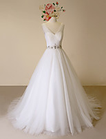 A-line Wedding Dress-Ivory Court Train V-neck Satin / Tulle