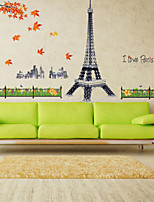 Wall Stickers Wall Decals Style Eiffel Tower Building Red Maple Leaf Waterproof Removable PVC Wall Stickers