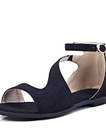 Women's Shoes  Flat Heel Peep Toe  / Comfort /Buckle / Open Toe Sandals Outdoor / Dress / Casual Black / Gray