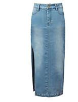 Women's Solid Blue Skirts,Street chic Midi