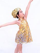 Jazz Outfits Kinderen Prestatie elastan / Polyester / Lovertjes Pailletten 3-delig Blauw / Goud / Donkerblauw paars Jazz Mouwloos