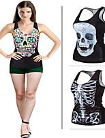 New Fashion Star The Word Vest Female European And American Hip-hop Style Cute Skull Shirt